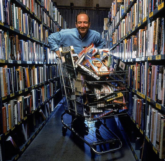 Jeff Bezos with a shopping cart