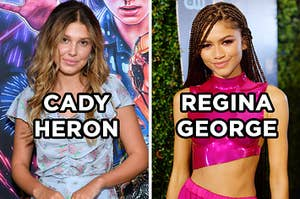"On the left, Millie Bobby Brown poses on the red carpet for the premiere of ""Stranger Things"" Season 3 with ""Cady Heron"" typed under her face, and on the right, Zendaya poses on the red carpet with ""Regina George"" typed under her face"