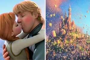 Princess Anna and Kristoff kissing next to the kingdom of Corona from Tangled covered in lanterns