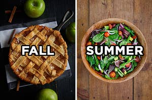 """On the left, an apple pie in a cast iron skillet with """"fall"""" written on top of it, and on the right, a garden salad in a wooden bowl with spinach, onions, tomatoes, and radishes with """"summer"""" typed on top of it"""