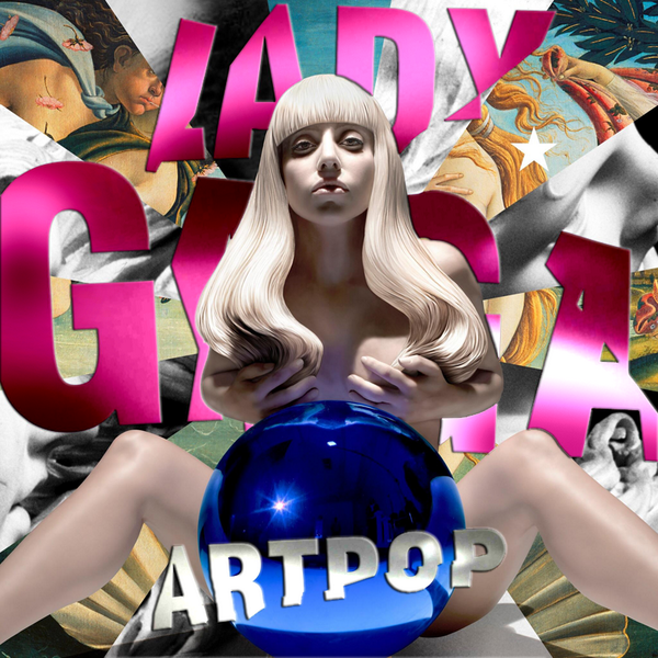 Cover of Artpop, which shows a statue of Lady Gaga covering her bare chest and sitting behind a shiny blue reflective sphere