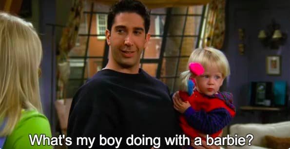 Ross asks what his son is doing playing with a Barbie