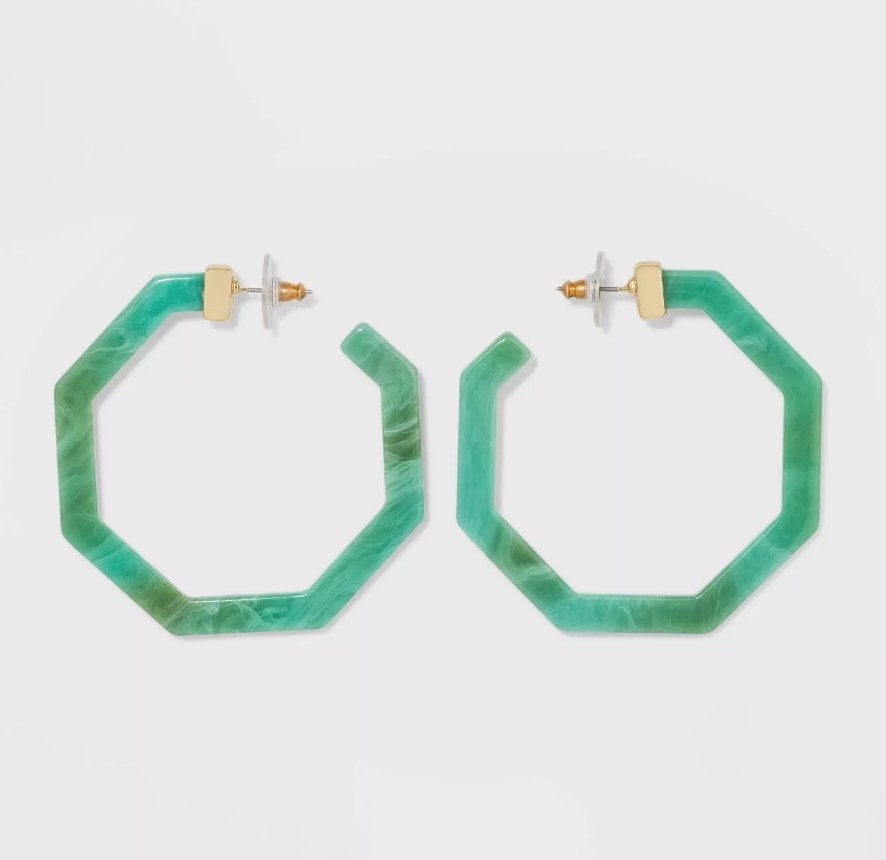 green hexagon shaped hoops