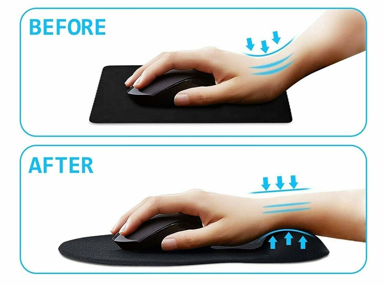 "Before and after images of a person using the black ergonomic mouse pad. Their hand posture is better in the ""after"" image."