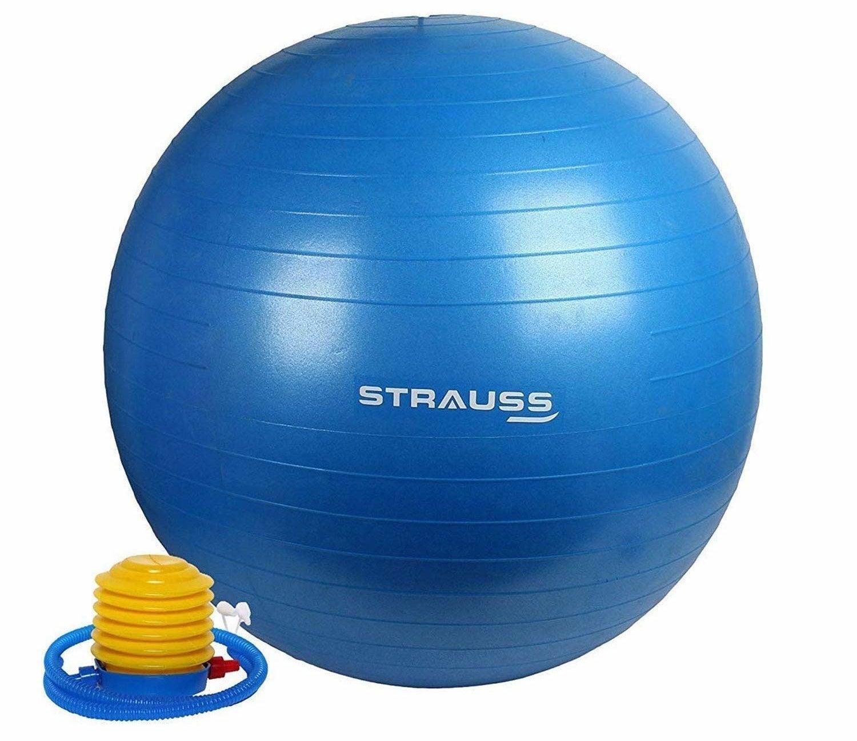 A blue sitting ball with an air pump.