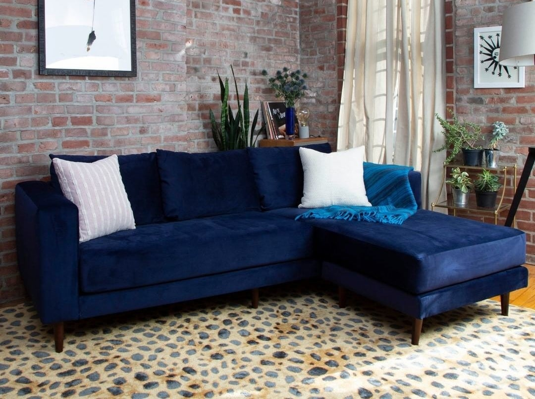 A blue velvet sectional couch with an l-like shape in a living room