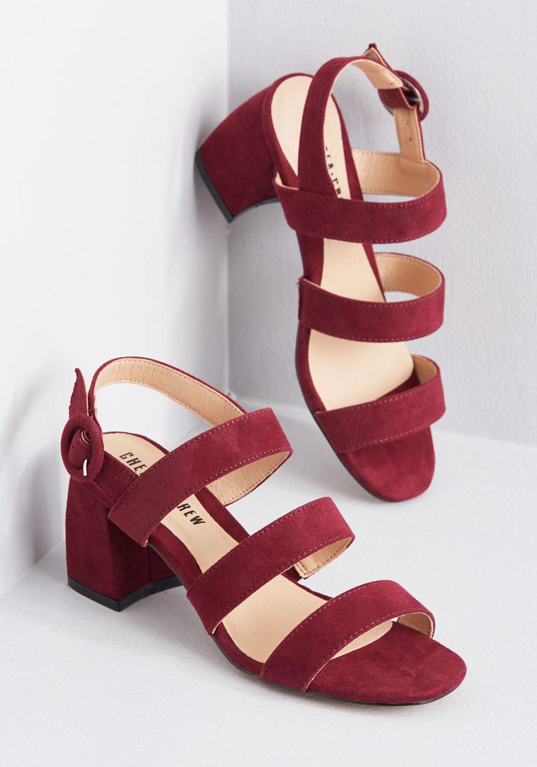 Burgundy suede strappy sandals