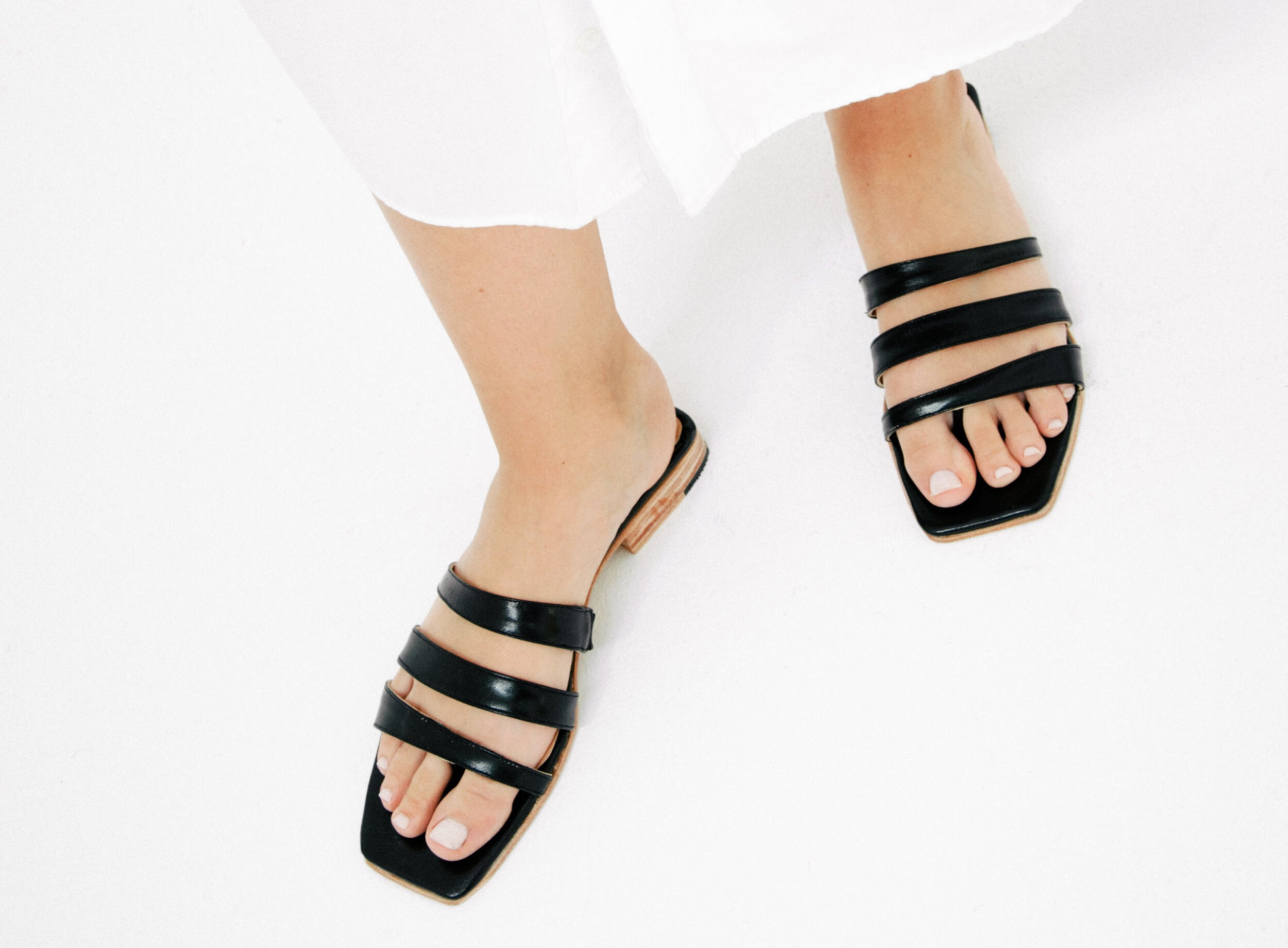 The sandals in black
