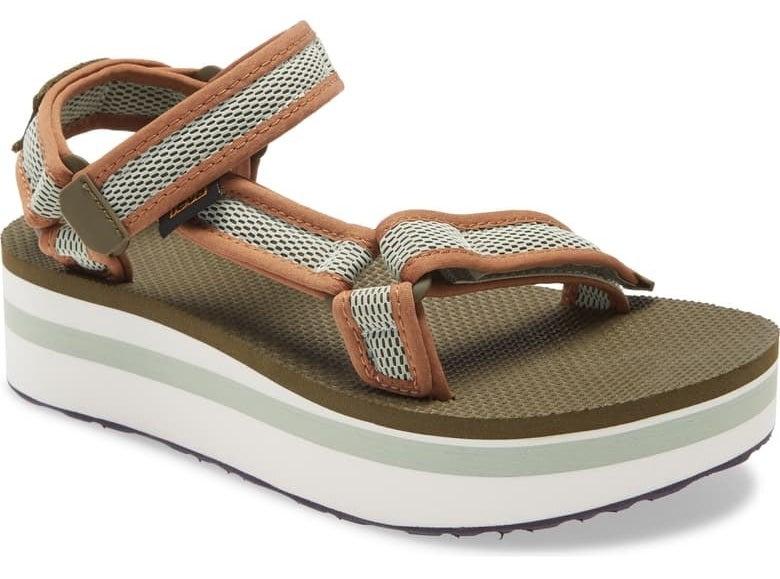 Teva Flatform Universal Sandal in dark olive/sea foam fabric