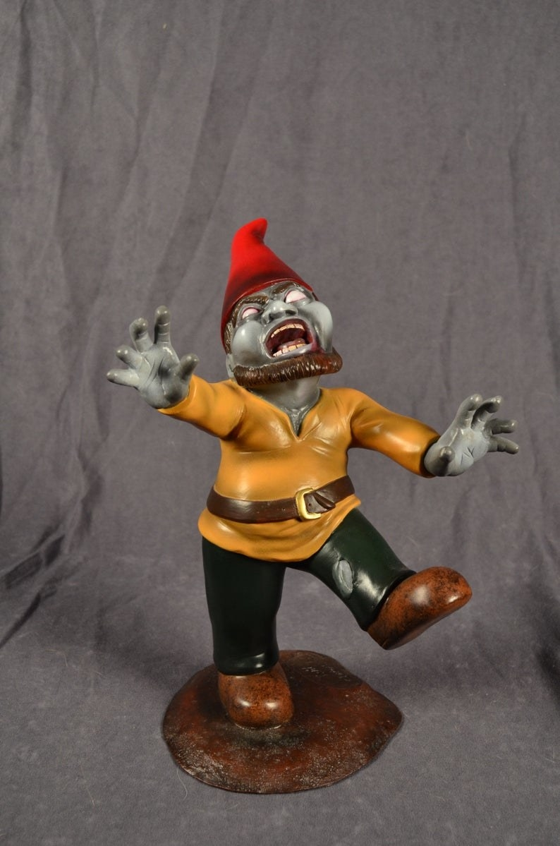 The zombie gnome with arms outstretched