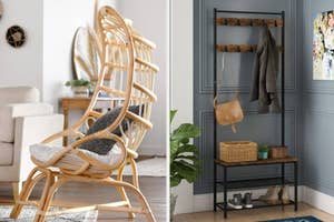 (left) Curved wicker chair with a cushion (right) Entry way bench with two shelves and hooks