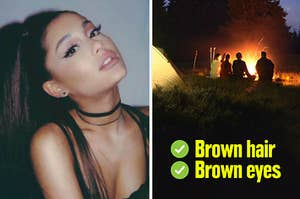 Ariana Grande with brown hair and brown eyes going camping