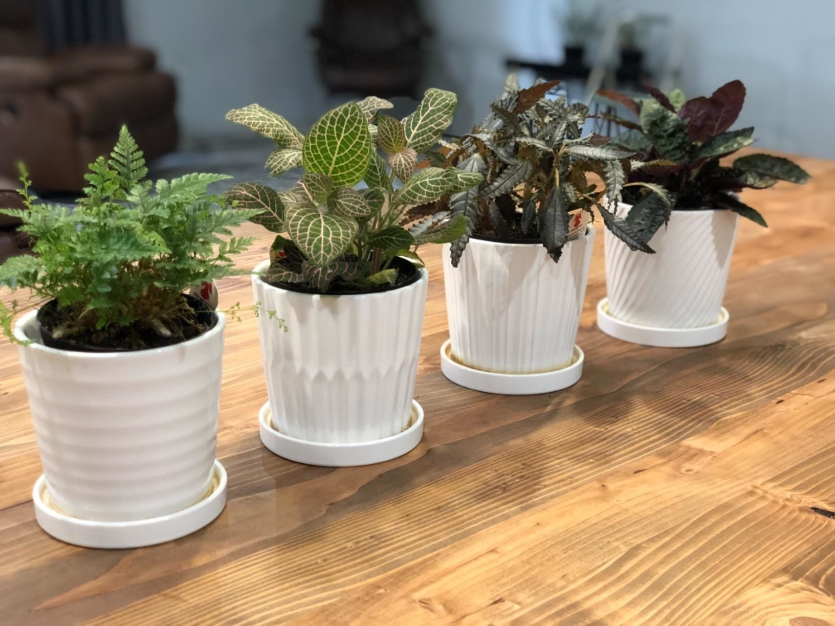 Four white planters with different lined exterior textures and drain basins