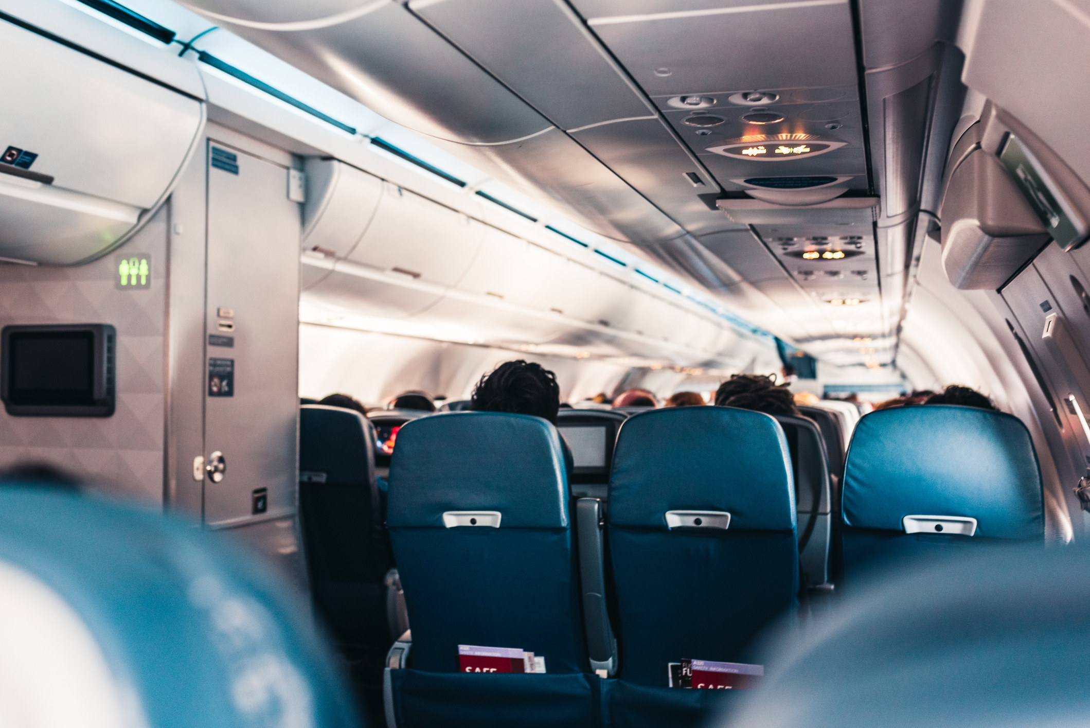 a commercial airplane full of people