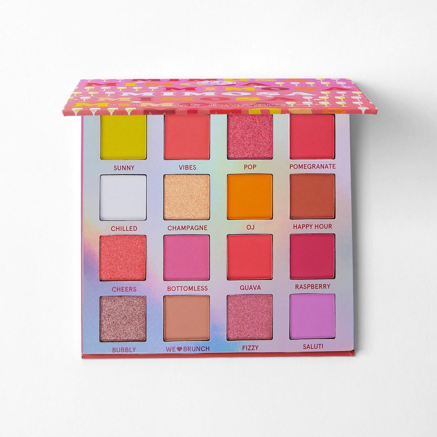 Pink-majority 16-color eyeshadow palette