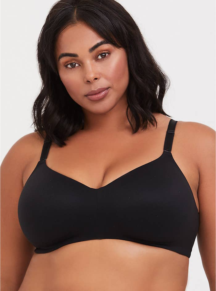 model in black wireless full coverage bra