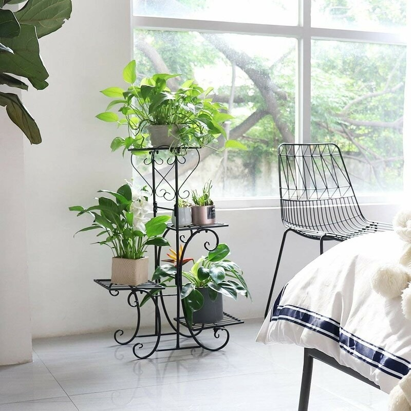 A metal plant stand with ends that curl up. It has one tier at the top, two on the right side, and another tier on the left side so the plants will be asymmetrically placed