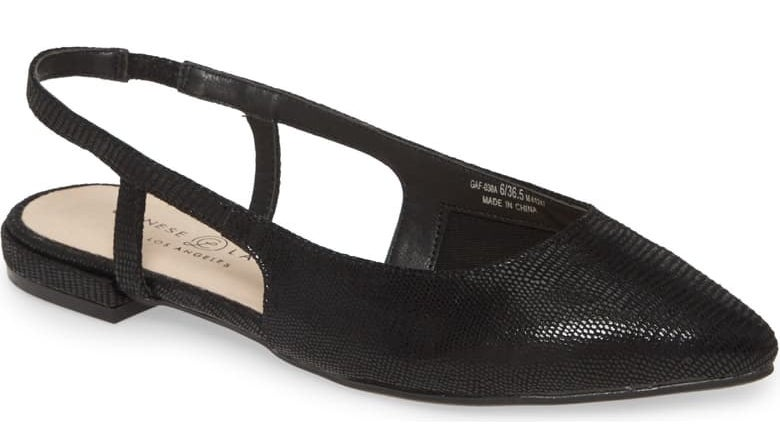 Chinese Laundry Glow slingback flat in black faux leather