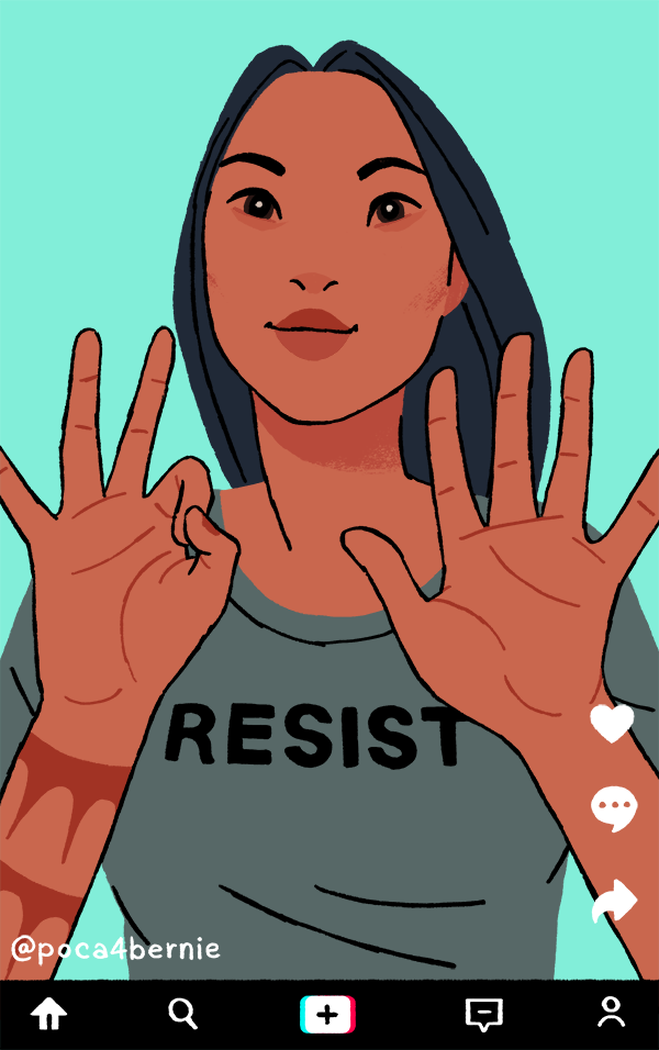 """Pocahontas doing the """"put a finger down"""" challenge."""