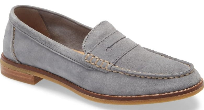 Sperry Seaport Penny Loafer in grey nubuck leather