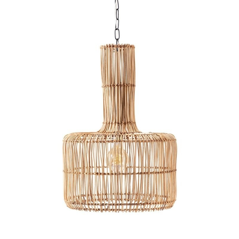 The light brown wicker pendant light with a hollow design and a lightbulb in the middle