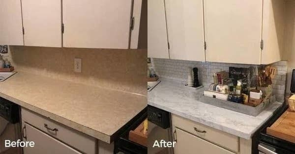 On the left, a before photo of an outdated-looking countertop, and on the right, the same countertop with a marble surface cover that looks sleek and brand new
