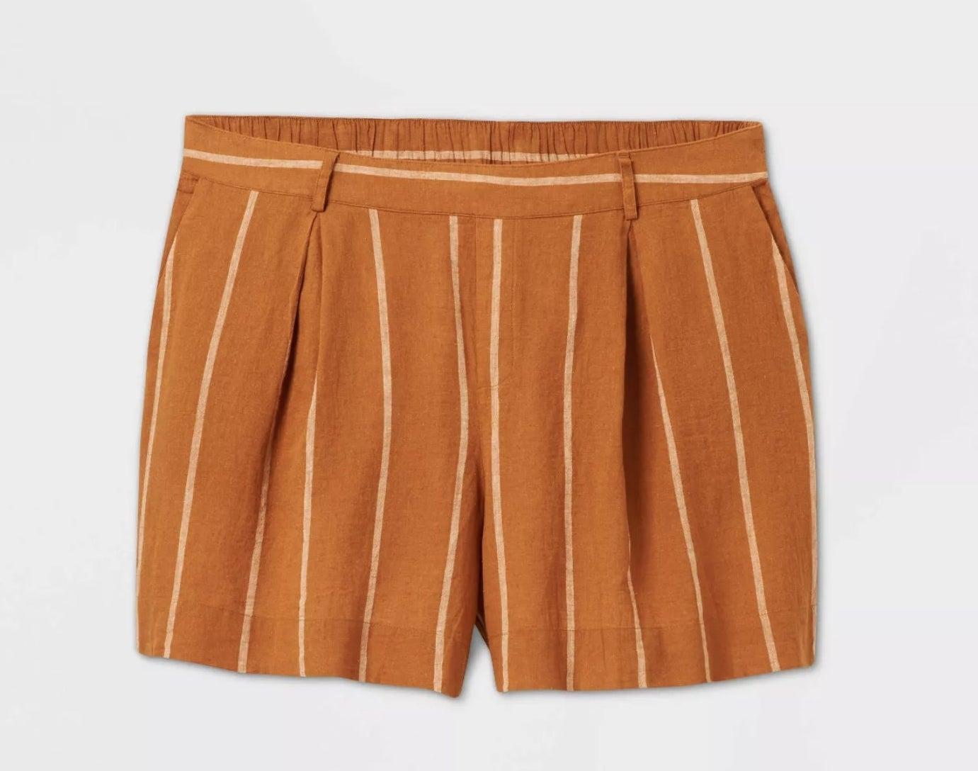 orange and white striped shorts