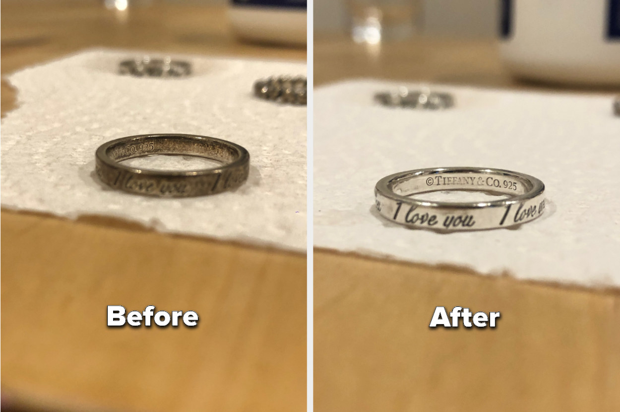 to the left: a very tarnished ring, to the right: the same ring in clean silver