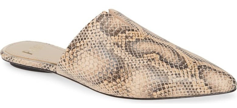 PAIGE Allia pointed toe mule in snakeskin