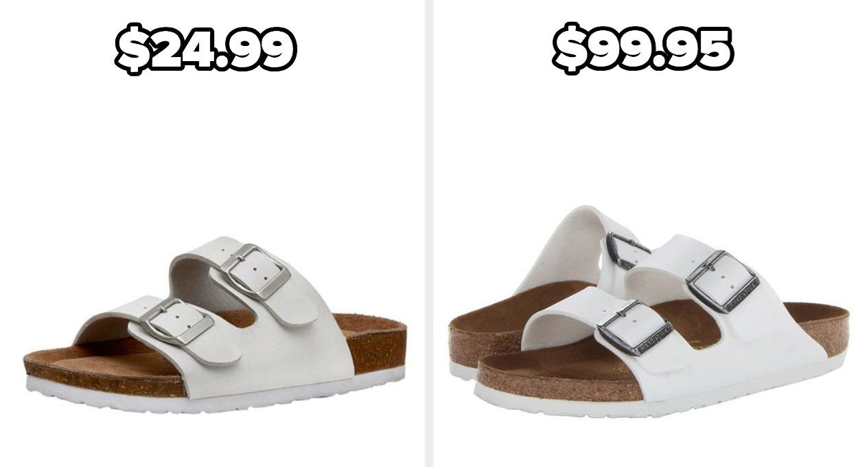 On the left, Cushionaire Slide Sandals in white, and on the right, Birkenstocks in white