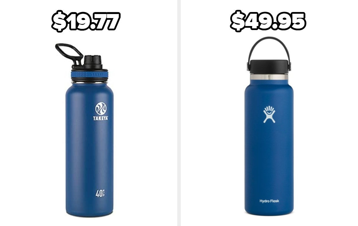 On the left, a Takeya water bottle in blue, and on the right, a Hydro Flask in blue