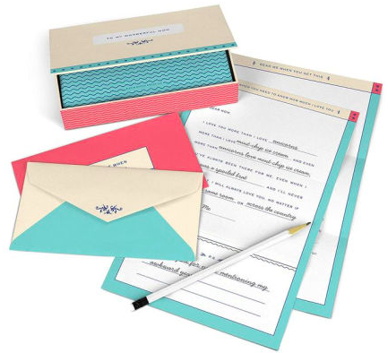 "A ""Fill in the Love Read Me Boxes Letters to My Wonderful Mom"" set with fill-in-the-black sheets of paper and colorful envelopes"