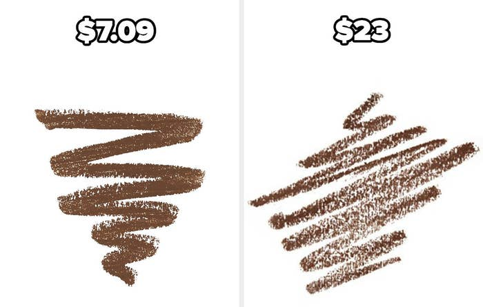 On the left, NYX Micro Brow Pencil, and on the right, Anastasia Beverly Hills Brow Wiz