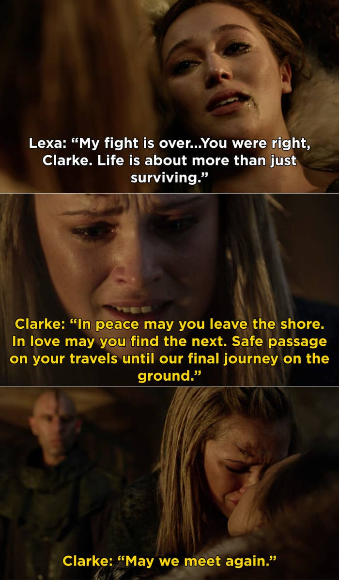 """Lexa dying and telling Clarke, """"My fight is over"""""""