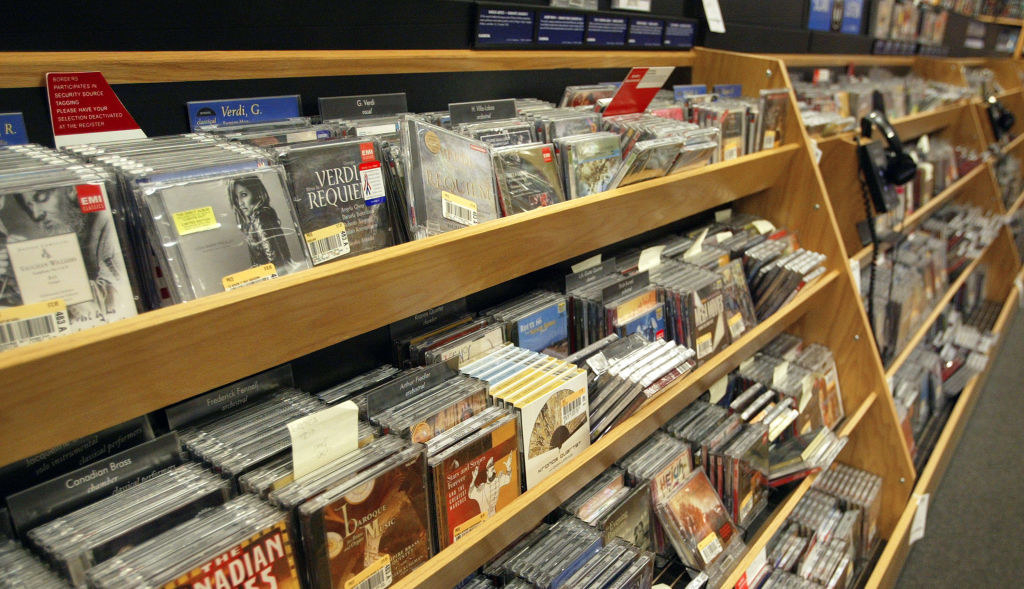 A photo of a rack of CDs in a Borders in the early '00s.