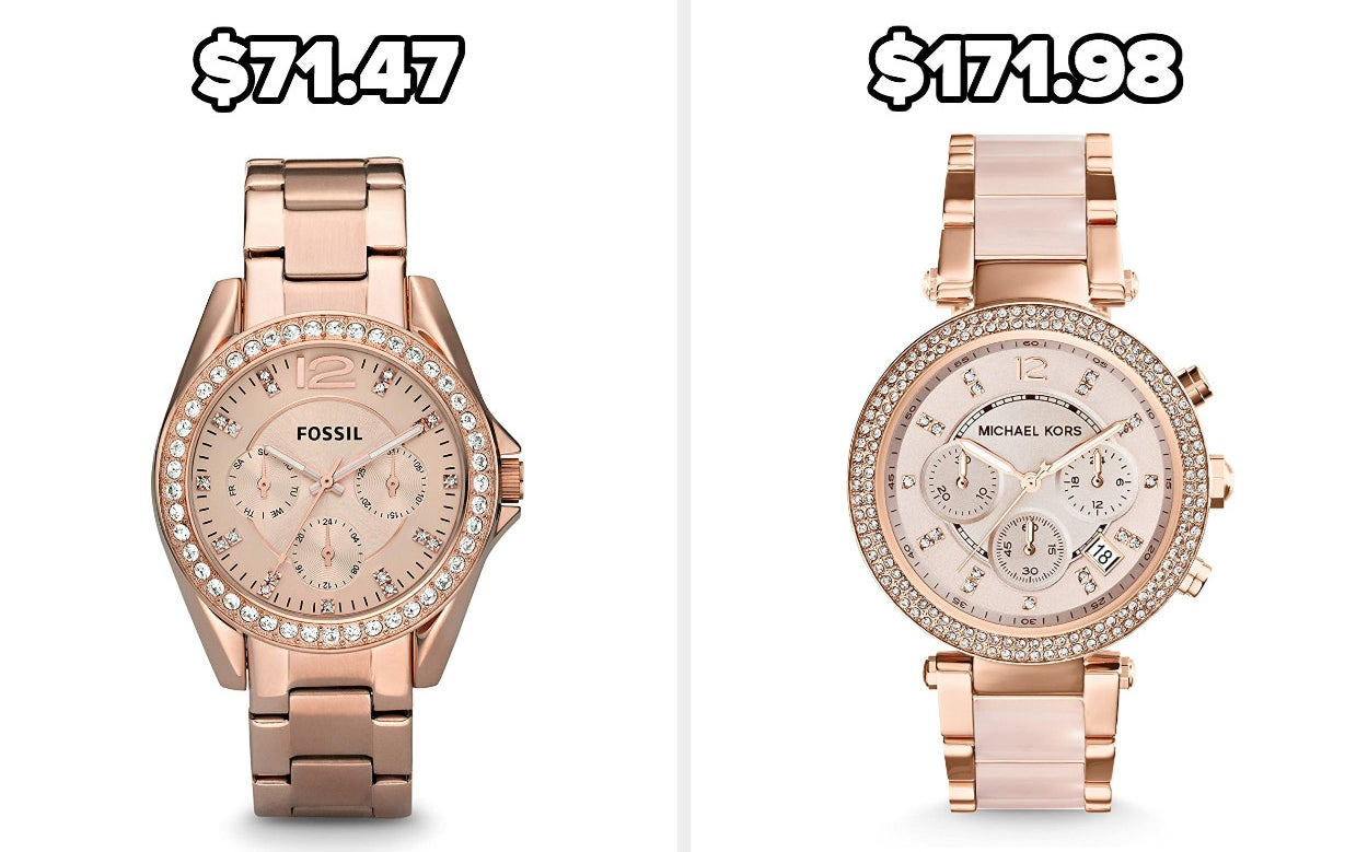 On the left, a Fossil watch, and on the right, a Michael Kors watch