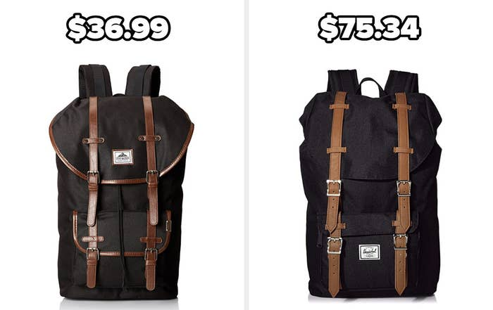 On the left, a Steve Madden backpack, and on the right, a Herschel Supply Co. backpack