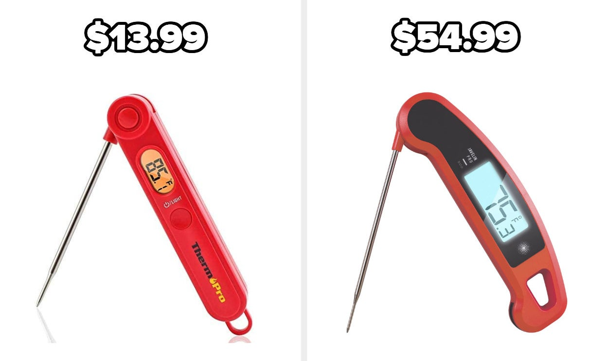 On the left, a digital food thermometer, and on the right, another, more expensive digital thermometer