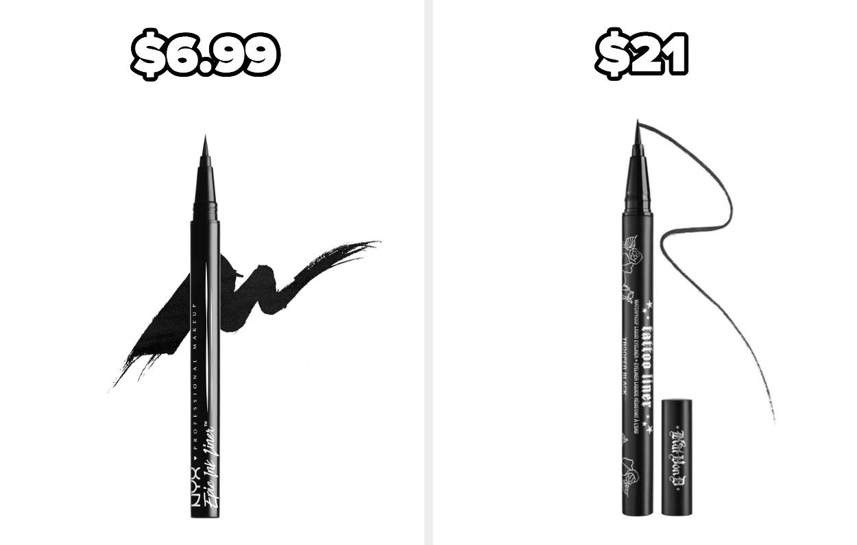 On the left, a NYX eyeliner, and on the right, a Kat Von D Tattoo Eyeliner