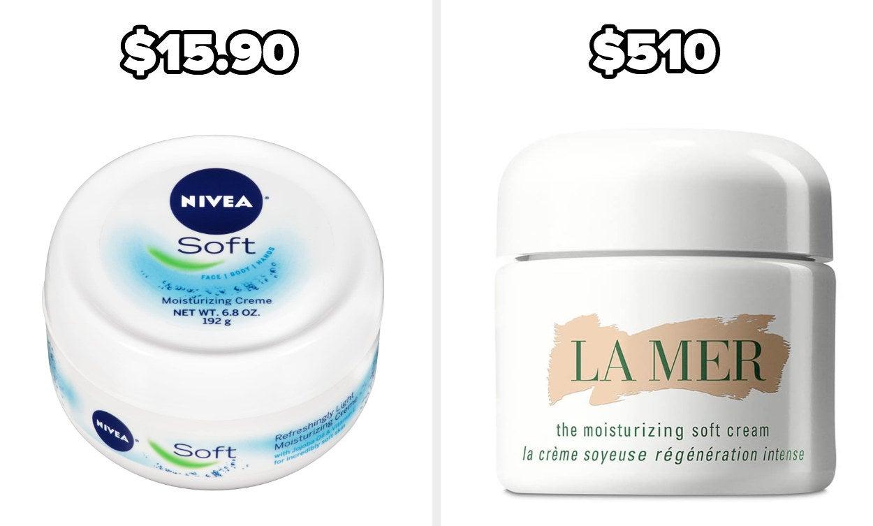 On the left, Nivea moisturizing creme, and on the right, La Mer moisturizing cream