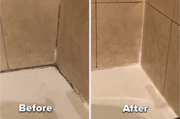 to the left: a gunky, dirty corner of a bathtub, to the right: the same corner all white and clean