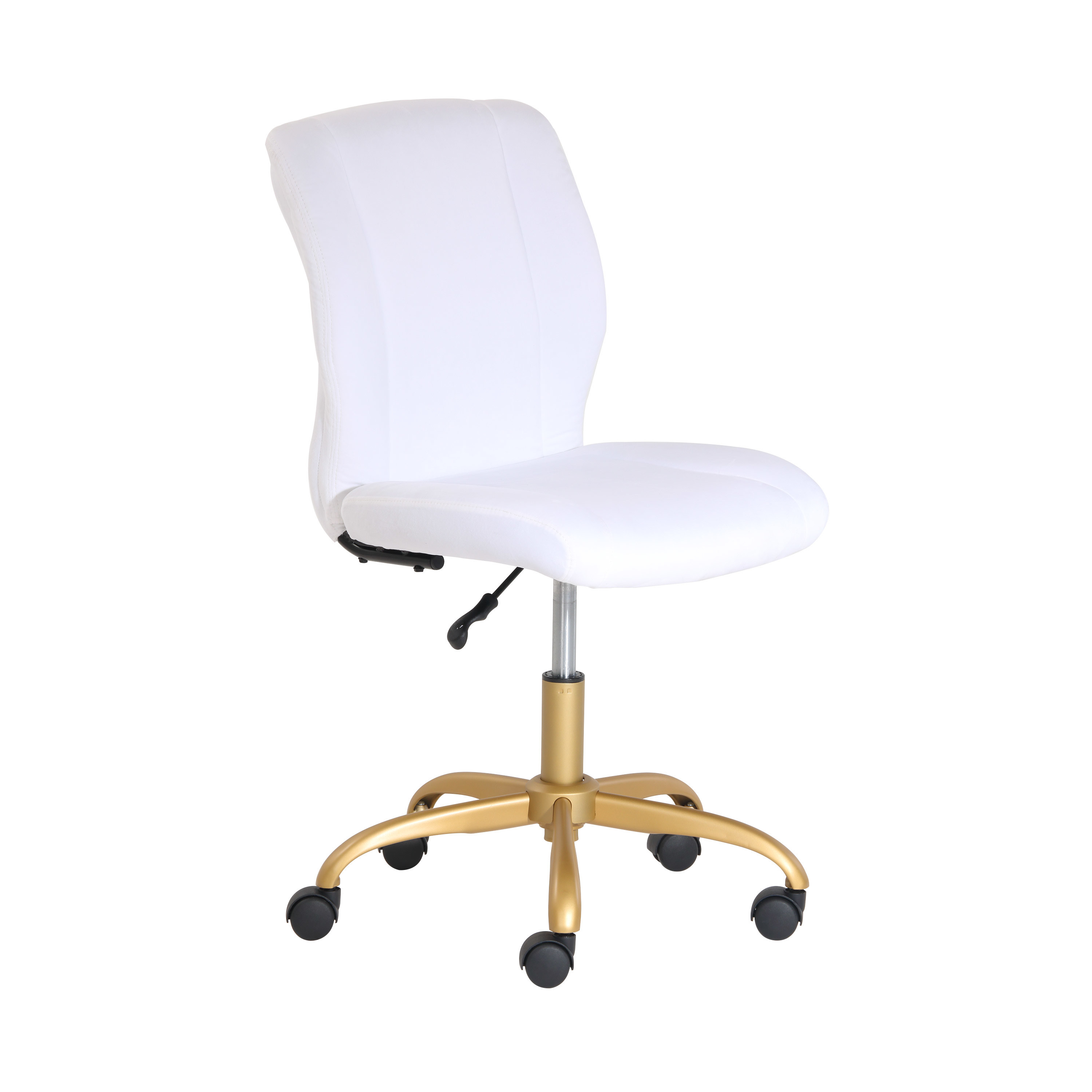 A white office chair with gold legs and five black caster wheels