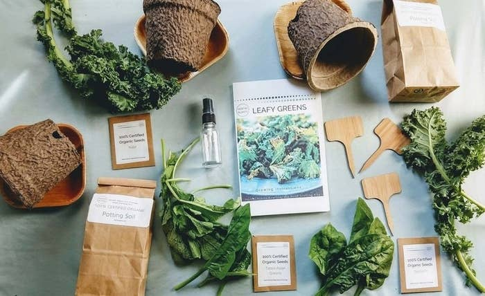 The complete organic greens gardening kit spread out on a table