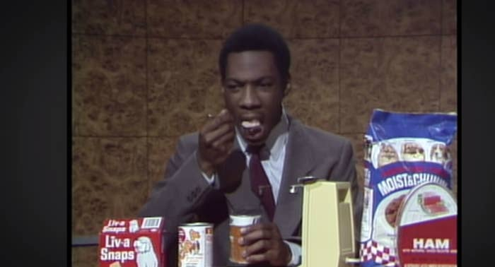 "Murphy's eating during the segment on ""Weekend Update"""