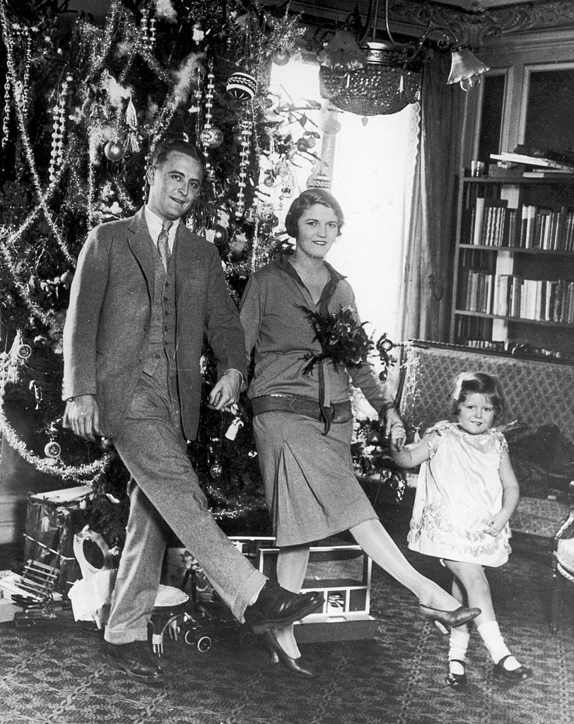 F. Scott Fitzgerald, his wife Zelda, and their child, Scottie, at Christmas