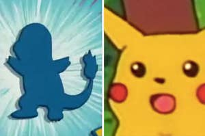 A silhouette of Charmander followed by an image of Pikachu looking shocked