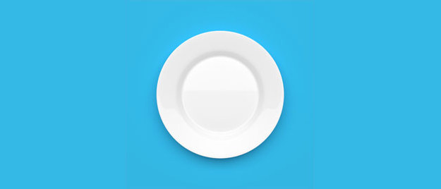 White plate with blue background.