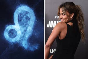 Leo sign in a night sky on the left with Halle Berry on the right