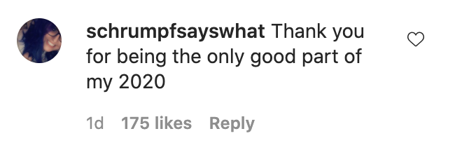 "Commentor who wrote, ""Thank you for being the only good part of my 2020"""