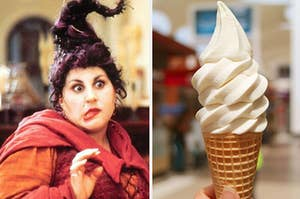 "Mary Sanderson from ""Hocus Pocus"" on the left with a vanilla ice cream cone on the right"